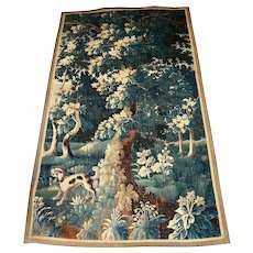 18th Century Flemish Pictorial Tapestry With Dog