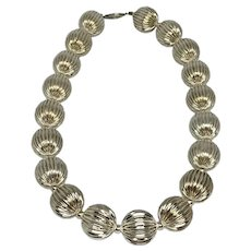 Textured Large Sterling Silver Ball Bead Necklace