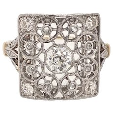 Edwardian Platinum & 14K Gold Diamond Filigree Ring