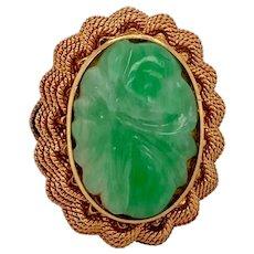 Vintage 18K Gold Carved Floral Jade Ring