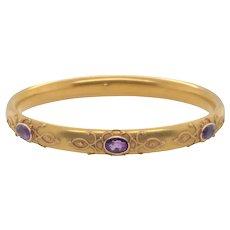 Art Nouveau 14K Gold Amethyst Bangle Bracelet