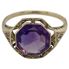 Antique 14K Yellow Gold and Amethyst Filigree Ring