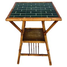 Antique 19th Century Bamboo Table With Tile Top
