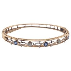 Edwardian 14K Gold Diamond and Sapphire Bangle Bracelet