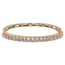 Vintage 14K Gold Diamond Bangle Bracelet