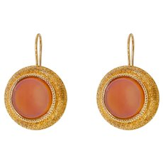 Victorian 18K Gold Carnelian Pierced Earrings