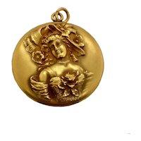 Large Art Nouveau Gold Filled Picture Locket Pendant