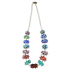 Funky Crystal and Italian Glass Bead Necklace