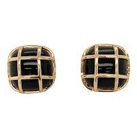 14K Gold and Onyx Pierced Post Earrings