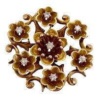 Art Nouveau Period Flower Pin Pendant with Diamonds