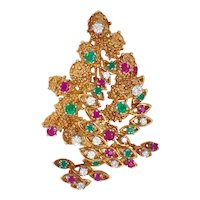 18K Gold French Christmas Jeweled Tree Pin