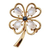 Retro 14K Gold Moonstone & Sapphire Four Leaf Clover Pin