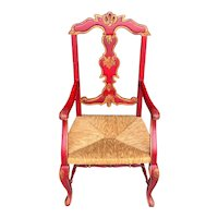 19th Century Spanish Scarlet Painted Arm Chair