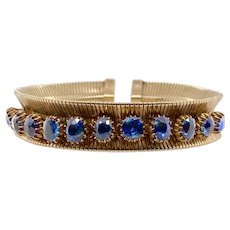 Retro Forstner Yellow Gold and Sapphire Cuff Bracelet