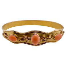 Art Nouveau 14K Gold Coral Set Bangle Bracelet