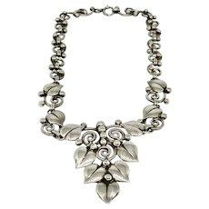 Vintage Sterling Silver Leaf Design Link Necklace