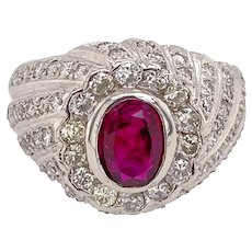Fine Platinum Natural Ruby Diamond Ring