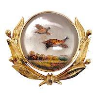14K Gold Reverse Essex Crystal Flying Duck Brooch