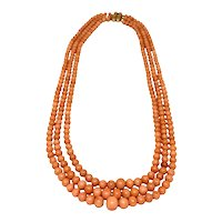 Victorian Triple Strand Coral Bead Necklace 14K Clasp