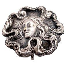 Art Nouveau Sterling Silver Figural Watch Pin Brooch