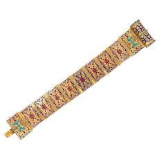 Exquisite European 14K Gold Enamel Turquoise Book Bracelet