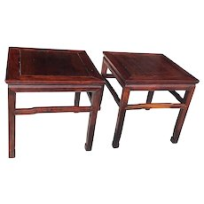 Pair Of Chinese Carved Hongmu Wood Low Tables