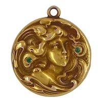 Art Nouveau 14K Gold Figural Locket with Tsavorite Garnets