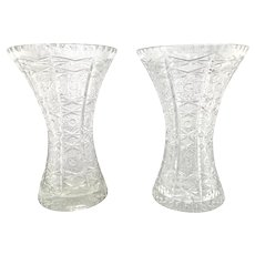 Pair Antique American Brilliant Cut Glass Vases