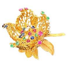 Fabulous Vintage 14K Gemstone Robert Altman Flower Brooch