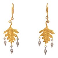 Cathy Waterman 22K Gold Leaf Earrings With Diamond Briollettes
