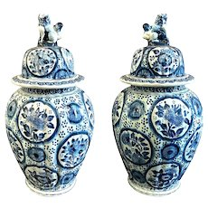 Pair Delft Blue & White Covered Urns Foo Dog Finials