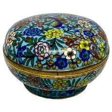 19th C. Chinese Cloisonne Round Floral Covered Box