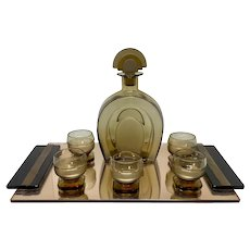 Art Deco Czech Glass & Decanter Set with Mirrored Tray