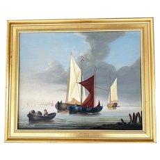 "David Beatty British 20th Century "" Boats In Harbor "" Oil On Panel"