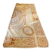 Large Vintage Center Medallion Woven Aubusson Carpet