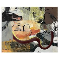 Malcolm Bray Acrylic on Paper Board Modern Abstract Painting