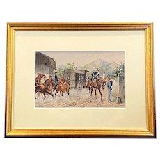 Oskar Merte, German 19th C Watercolor on Paper Soldiers on Horseback
