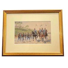 Oskar Merte, German 19th C Watercolor on Paper Marching Soldiers
