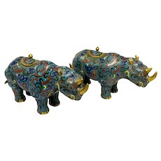 Pair Of Chinese Cloisonne Rhinoceros Censers