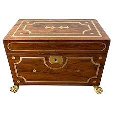 English Regency Rosewood Brass Inlaid Tea Caddy c. 1820