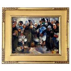 "Martha Walter, Oil on Board ""The Chicken Market, Brittany"""