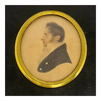 Early 19th C. English Miniature Profile Portrait Watercolor on Paper