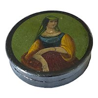 English 19th C. Papier Mache Snuff Box with Portrait
