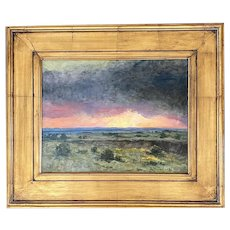"Ruth W. Paulsen ""Sunset over Malpais"" Oil on Board"