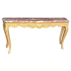 18th C. French Louis XV Carved Giltwood Marble Top Console Table