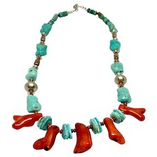 Native American Coral, Turquoise & Sterling Necklace