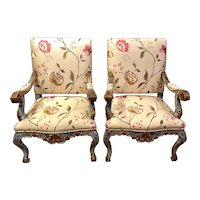 Pair Of 18th Century Italian Baroque Upholstered And Painted Armchairs