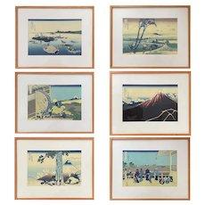 "Six Japanese Wood Block Prints Hokusai ""Thirty-Six Views Of Mt. Fuji"""