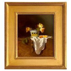 """Talavera Pottery With Roses"" Ruth Paulsen Oil on Artist Board"