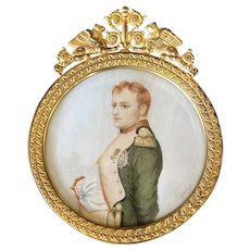 Signed Miniature Profile Portrait of Napoleon in Gilt Bronze Frame